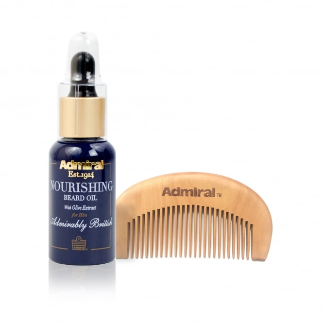 Admiral Grooming Nourishing Beard Oil with Olive Extract and Luxury Beard Comb