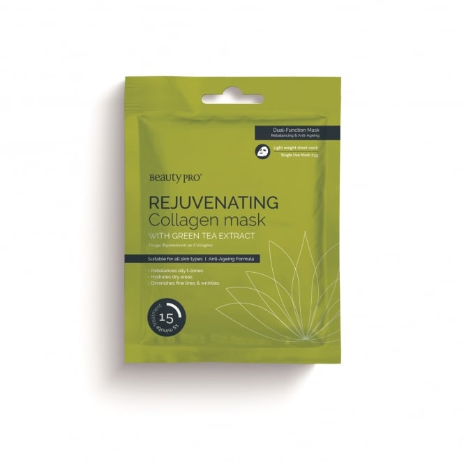 Beauty Pro Anti–Aging Collagen Sheet Mask – Rejuvenating Green Tea