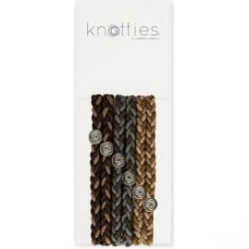Knotties Braided Elastic Hair Ties - Warm Chocolate 6 Pack