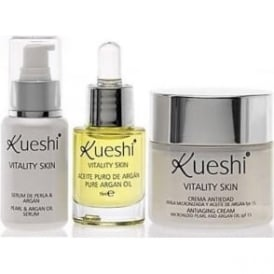Kueshi Vitality Skin Set – Argan Oil, Anti-ageing Serum & anti-ageing Cream