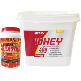 MET-Rx Basic Stack for Size & Strength - MET-Rx 100% Whey Protein in Strawberry (5kg) & MET-Rx Creatine Monohydrate (1kg) CO-142061