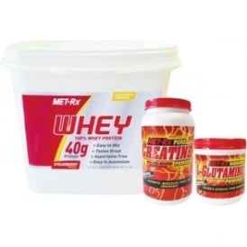 MET-Rx Whey Protein Intermediate Stack for Size, Strength & Recovery - Strawberry Whey 5kg, Creatine Monohydrate 1kg & L-Glutamine Powder 500g