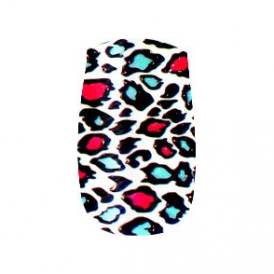 Nail Wrap Leopard Print Pink/Turquoise (15)