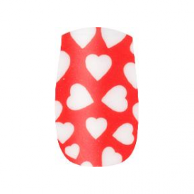 Nail Wrap Red/White Heart (202)