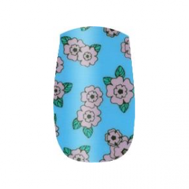 Nail Wrap Turquoise, Pink Flowers (333)