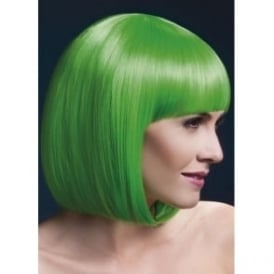 "Fever Elise Wig Neon Green, Sleek Bob with Fringe (13"", 33cm)"