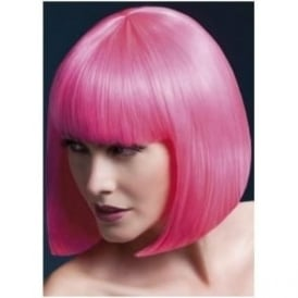 "Fever Elise Wig Neon Pink, Sleek Bob with Fringe (13"", 33cm)"