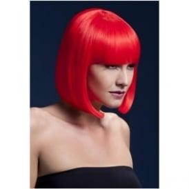 "Fever Elise Wig Neon Red, Sleek Bob with Fringe (13"", 33cm)"