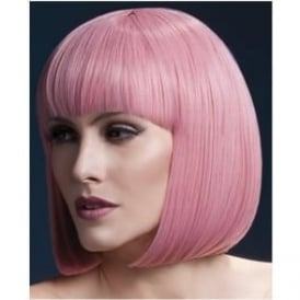 "Fever Elise Wig Pastel Pink, Sleek Bob with Fringe (13"", 33cm)"