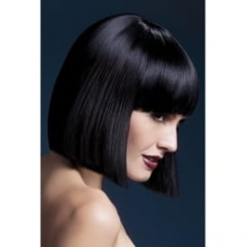 "Fever Lola Wig Black, Blunt Cut Bob with Fringe (12"", 30cm)"