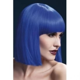 "Fever Lola Wig Blue, Blunt Cut Bob with Fringe (12"", 30cm)"