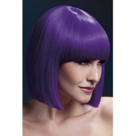 "Fever Lola Wig Purple, Blunt Cut Bob with Fringe (12"", 30cm)"