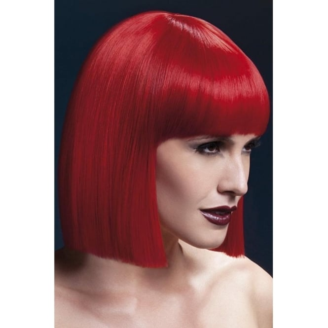 "Smiffy's Fever Lola Wig Red, Blunt Cut Bob with Fringe (12"", 30cm)"