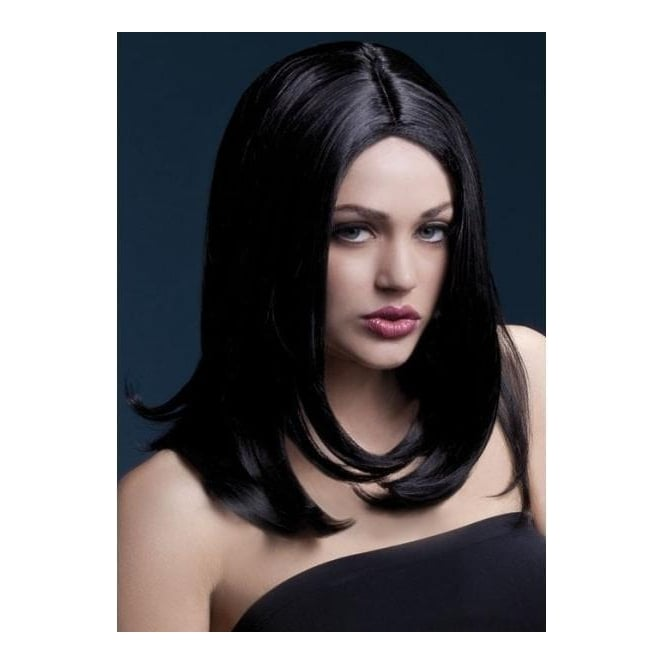 "Smiffy's Fever Sophia Wig Black, Layered with Centre Parting (17"", 43cm)"