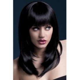 "Fever Tanja Wig Black, Feathered with Fringe (19"", 48cm)"