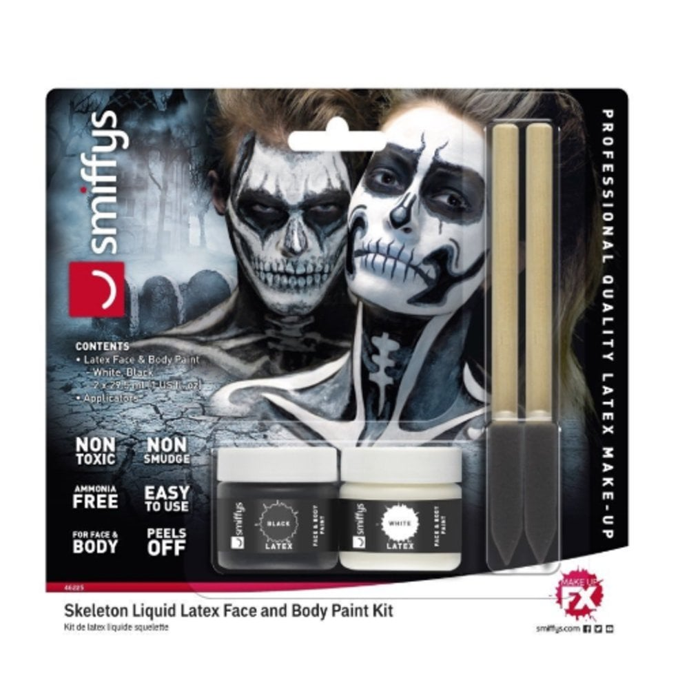 Smiffy's Smiffy's Liquid Latex Face and Body Paint Kit - Skeleton